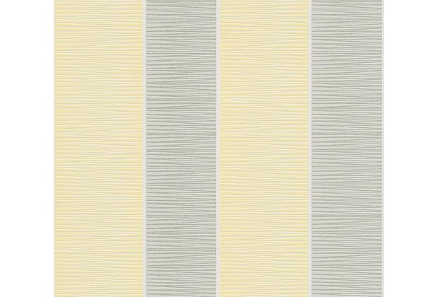 Schöner Wohnen Blockstreifentapete Vliestapete gelb grau weiß 10,05 m x 0,53 m
