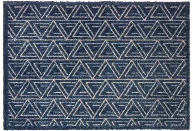 Schöner Wohnen Kollektion Fußmatte Manhattan Design 005, Farbe 022 Triangle dunkelblau 67 x 100 cm