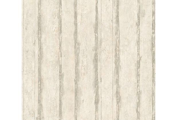 Livingwalls Mustertapete in Vintage Holz Optik Tapete creme grau metallic 327061 10,05 m x 0,53 m