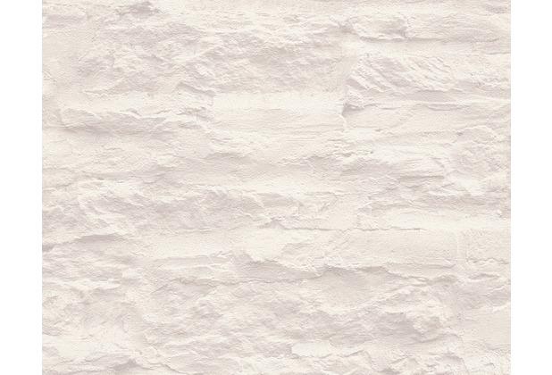 Livingwalls Mustertapete, Tapete, signalweiß, platingrau 959083 10,05 m x 0,53 m