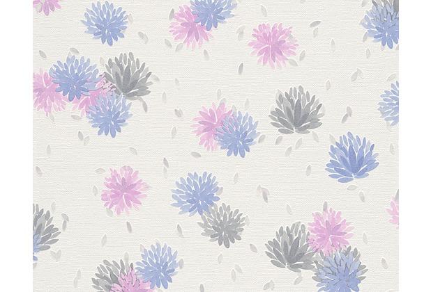 Sch ner wohnen mustertapete vliestapete blau rosa wei for Mustertapete blau