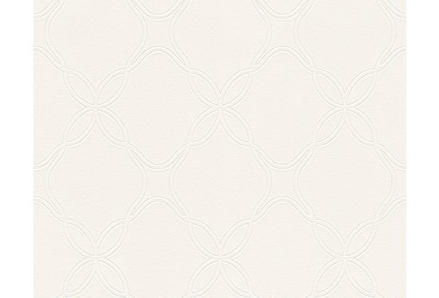 Schöner Wohnen Mustertapete, Vliestapete, metallic, weiß 10,05 m x 0,53 m