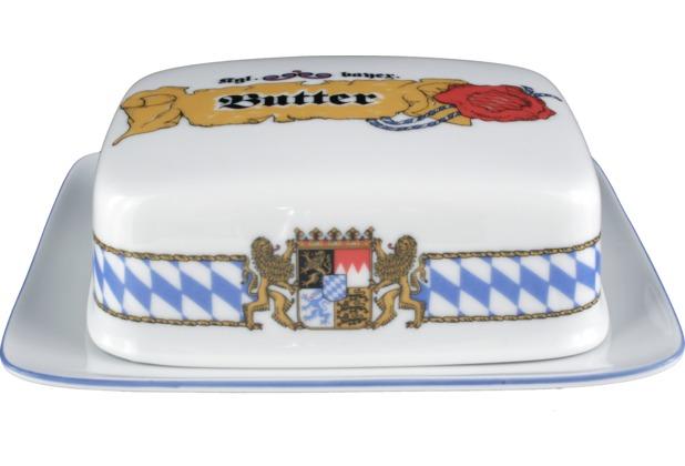 Seltmann Weiden Butterdose 1/2 Pfd Compact Bayern 27110 blau, gelb, rot/rosa