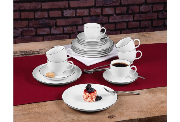 Seltmann Weiden Lido Kaffeeservice 18-tlg. Black Line