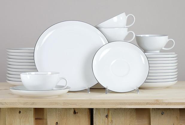 Seltmann Weiden Lido Teeservice für 12 Personen 36-teilig groß schwarz