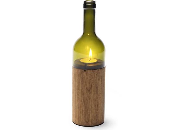 """side by side \""""WeinLicht\"""" Farbe: grün, Material: Eiche/Glas, Höhe 28 cm, Ø 7,5 cm (Windlicht, Teelichthalter)"""