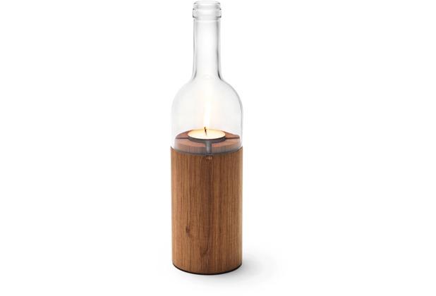 """side by side \""""WeinLicht\"""" Farbe: weiß/klar, Material: Eiche/Glas, Höhe 28 cm, Ø 7,5 cm (Windlicht, Teelichthalter)"""