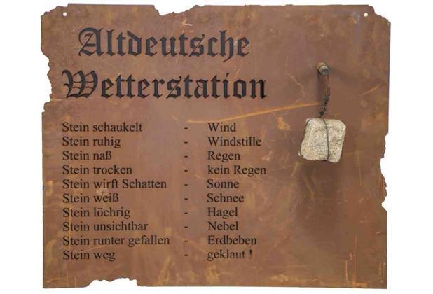 Siena Garden Altdeutsche Wetterstation zum Hängen Metall mit Edelrost, 80xH70cm