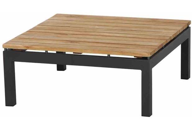 Siena Garden Alvida Lounge Tisch 74x74x30 cm Gestell Aluminium matt-anthrazit, Tischplatte Teakholz natur