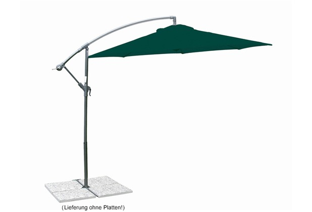 "Siena Garden Ampelschirm \""Klassik\"" Gestellfarbe: grau Bezug: grün Ø 300 cm"