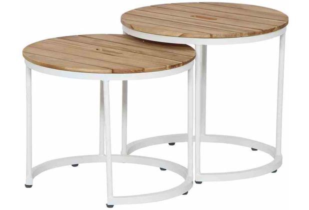 Siena Garden Baros Beistelltisch Ø 50x46 cm + Ø 50x41 cm Gestell Aluminium matt-weiß, Tischplatte Teakholz natur