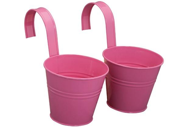 Siena Garden Blumentopf 2er Set pink inkl. Halter, Zinkblech