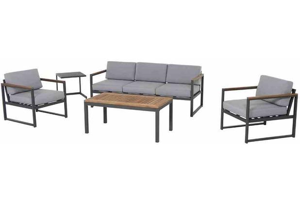 Siena Garden Campo Loungeset, 5 tlg. Gestell und Fläche Aluminium matt-graphit, inkl. Sitz- und Rückenkissen