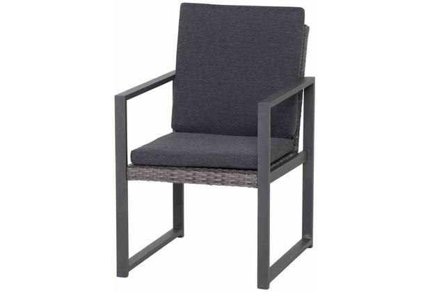 Siena Garden Campos Dining Sessel Gestell Aluminium matt-graphit, Gardino®-Geflecht graphit, inkl. Sitz- und Rückenkissen graphit
