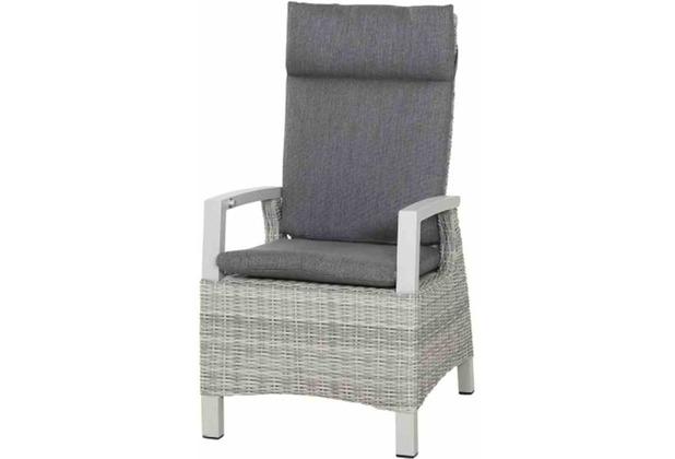 Siena Garden Corido Dining Sessel Gestell Alu matt-weiß-grau, Gardino®-Geflecht ice grey, inkl. Sitz- und Rückenkissen stone grey