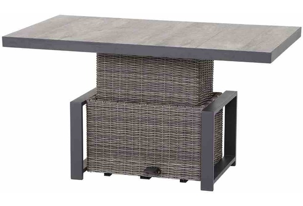 Siena Garden Corido Lifttisch 130x75x47/71 cm Gestell Aluminium matt-anthrazit, Tischplatte Keramik grey