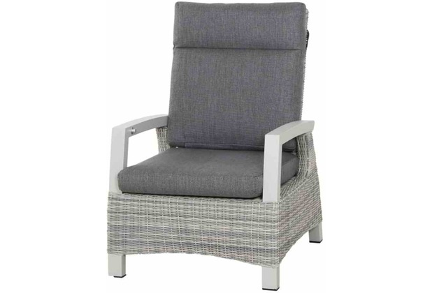 Siena Garden Corido Loungesessel Gestell Alu matt-weiß-grau, Gardino®-Geflecht ice grey, inkl. Sitz- und Rückenkissen stone grey