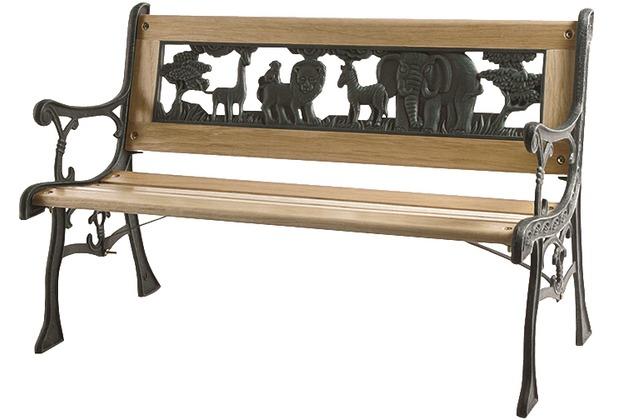 Siena Garden Kinder-Gussbank mit Zoo Ornament im Rücken, Gussgestell grün, Belattung aus Holz, L 84 x B 41 x H 52,5 cm