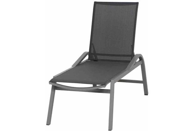 Siena Garden Milos Rollliege Gestell Aluminium matt-silber, Fläche Ranotex®-Gewebe schwarz-silber