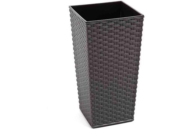 Siena Garden Pflanzgefäß Paris, Kunststoff grau 25x25x46,5cm, mit schwarzem Kunststoffeinsatz