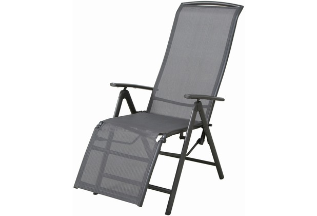 Siena Garden Relax Atlanta, Aluminiumgestell: anthrazit, Ranotex®-Textilfaser 2*1: grau, mehrfach verstellbar, L 72 x B 60 x H 110 cm