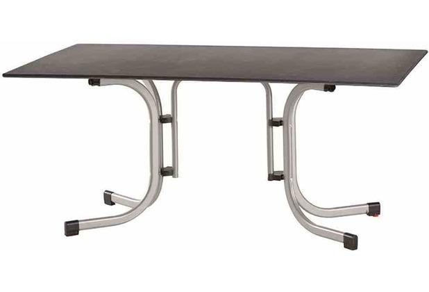 Siena Garden Slim Klapptisch 160x90 cm Gestell Stahl silber, Tischplatte Topalit® betonoptik schiefer-antik