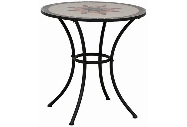 Siena Garden Tisch Stella, Gestell schwarz, Tischplatte in Mosaik-Optik, Ø 70 x H 76 cm