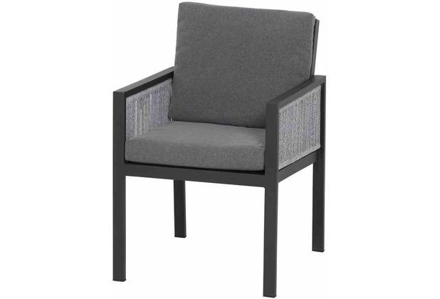 Siena Garden Varina Dining Sessel Gestell Aluminium matt anthrazit, Fläche Kordel grau meliert, inkl. Sitz- und Rückenkissen grau