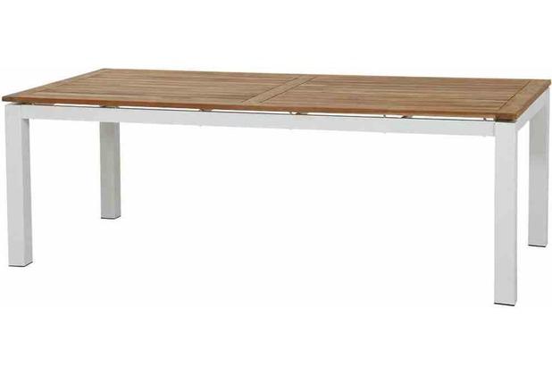 Siena Garden Varina Dining Tisch 220x100x75 cm Gestell Aluminium matt-weiß, Tischplatte Teakholz natur