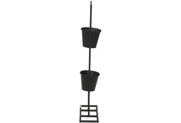 Siena Garden Vertical Garden Pflanzhalter rechteckig, Metall schwarz matt, inklusive 2 Töpfen, 28x13,5x73cm