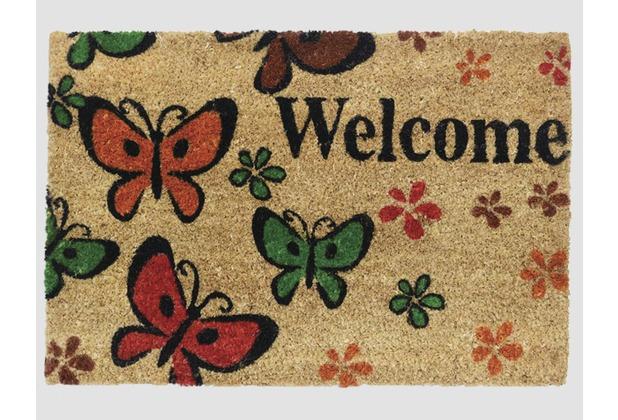 Siena Home Kokosmatte RUCO PRINT 40 x 60 cm, Welcome Butterfly