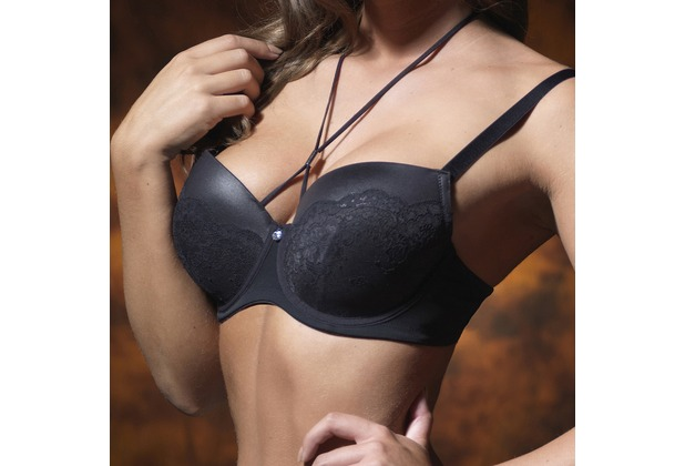 signature Padded bra Lace & Leather look black 90D