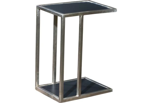 SIT ART & DECO Beistelltisch vernickeltes Metall, pulverbeschichtetes MDF silber und schwarz