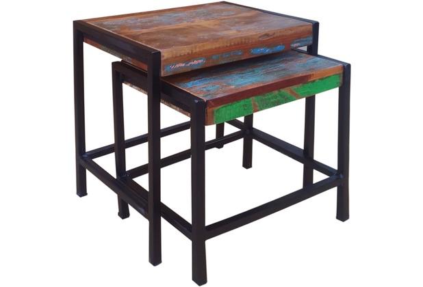 SIT BALI 2-Satz-Tisch bunt mit antikschwarz