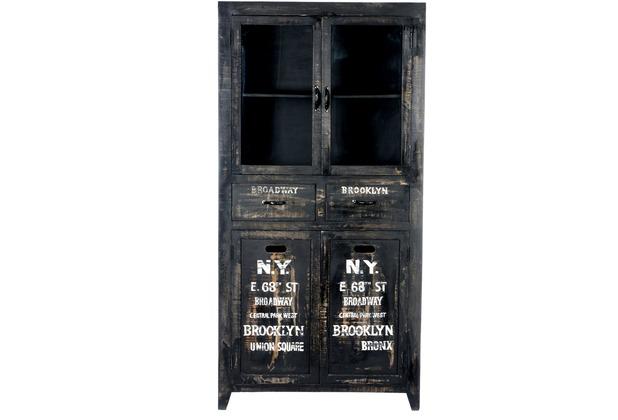 SIT BRONX Vitrine 4 Türen, 2 Schubladen antikschwarz