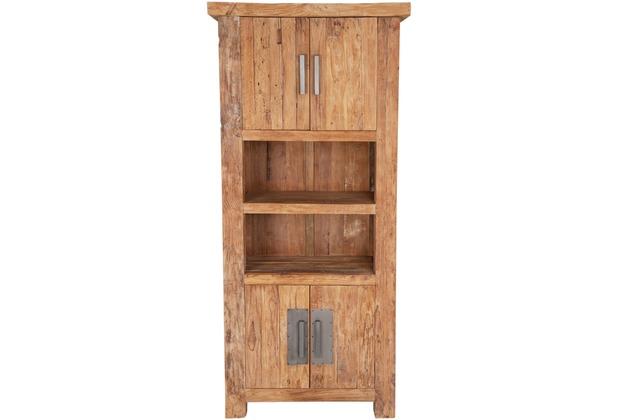 SIT CORAL Bücherschrank 4 Holztüren, 2 offene Fächer natur