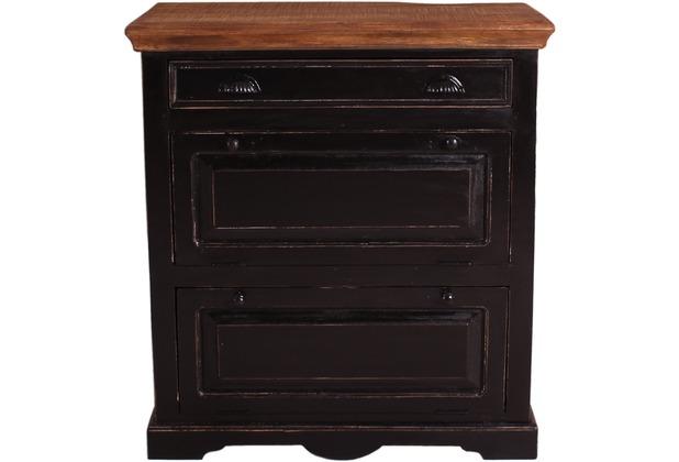 SIT CORSICA Schuhschrank i Schublade, 2 Klappen schwarz mit honigfarbiger Deckplatte