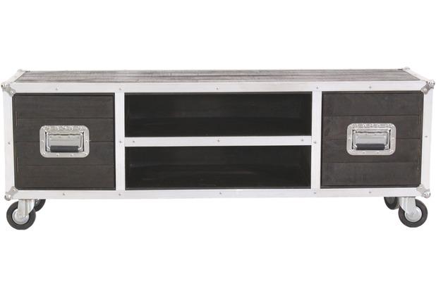 SIT DARK ROADIES Lowboard 2 Türen, 2 offene Fächer, auf Rollen dunkelbraun mit silbernen Beschlägen