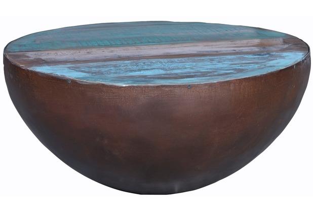 SIT FRIDGE Couchtisch 70 x 70 cm trommelförmig Platte bunt, Gestell antikschwarz