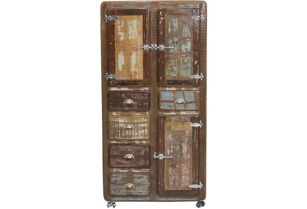 SIT FRIDGE Schrank 3 Türen, 5 Schubladen, auf Metallrollen bunt