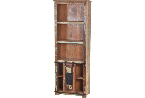 SIT JUPITER Bücherregal 5 Fächer, 1 Schiebetür natur, bunt