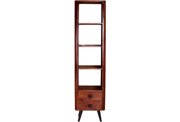 SIT KNOB Bücherregal 4 offene Fächer, 2 Schubladen natur, Beine antikschwarz