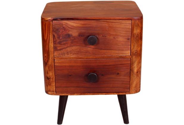 SIT-Möbel KNOB Nachttisch 2 Schubladen natur, Beine antikschwarz