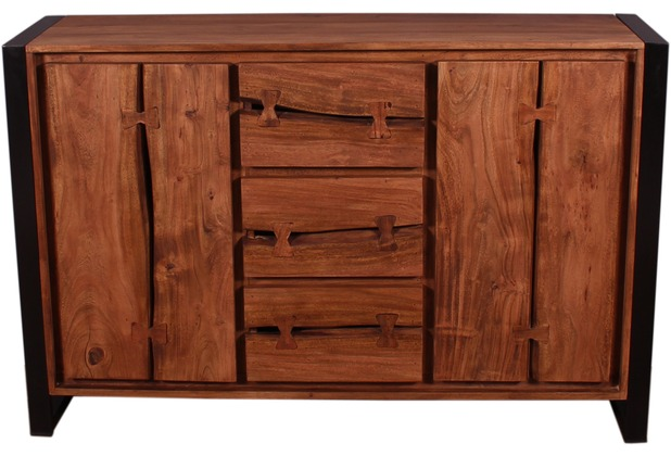 SIT LIVE EDGE Sideboard 3 Schubladen, 2 Türen cognacfarbig und schwarz