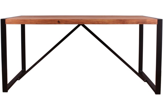 SIT LIVE EDGE Tisch 200 x 100 cm cognacfarbig und schwarz