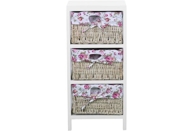 SIT MACAO Kommode 3 Körbe weiß, Boxen mit pinker Schleife