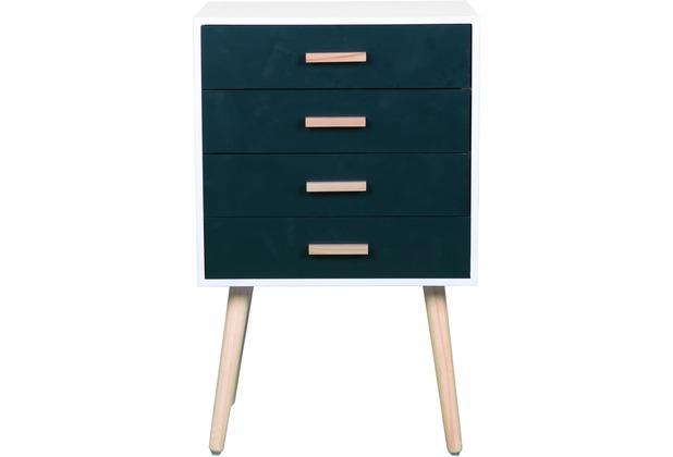 SIT MACAO Kommode 4 Schubladen mattweiß lackiert, Schubladen blau, Beine natur