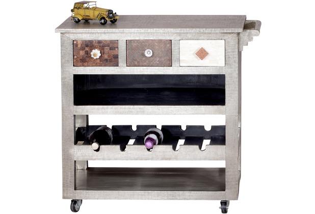 SIT-Möbel METAL & BONE Küchenwagen 3 Schubladen, 2 Ablagen, 1 Ablage für 5  Flaschen Korpus silber, Front bunt