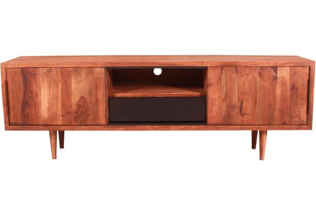 SIT MID CENTURY Lowboard 2 Schiebetüren, 1 Schublade, 1 offenes Fach natur mit schwarzer Schublade
