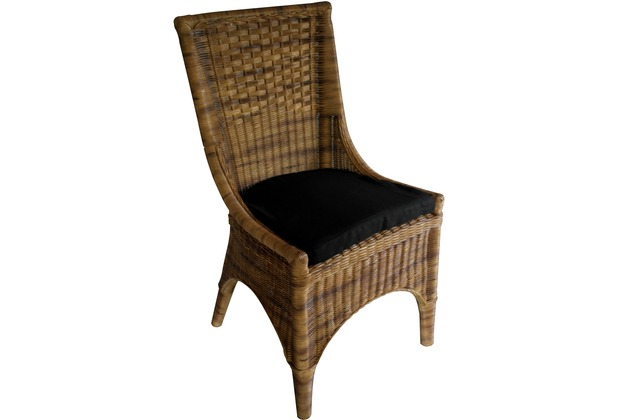 SIT RATTAN Stuhl inklusive Kissen Stuhl antikfinish, Kissen anthrazit